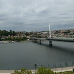 Panoramic view of golden horn from hotel rooftop