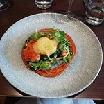Starter - delicious. Pan roasted chicken thigh, curry foam, crayfish and watercress salad.