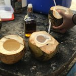 Fresh coconut drinks on the island