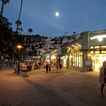 Full moon over shoppers along Avalon's waterfront on Catalina Island.