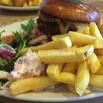 My delicious steak burger; fish and chips opposite :-))