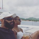Husband and wife in relax mode on our way to Soufriere