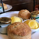 Blueberry scones with lemon curd and clotted cream...Oh my!