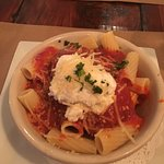 Rigatoni with a dollop of ricotta with veal meat balls.