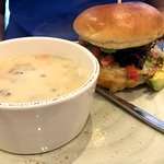 Baja turkey burger and chicken and rice soup