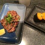 Beef tongue and uni nigiri