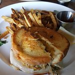 """Crab cake grilled cheese sandwich.  Background is """"Lobster roll"""" no lobster noticeable"""
