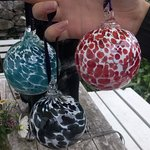 These are our finished, slightly wonky, glass baubles.