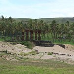 The Moai of Anakena, the only sandy beach on Easter Island.