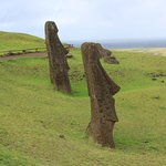 Part of the spectacular Rano Raraku site,where the Moai were mined and created.