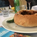 Venison stew (goulash) in a bread bowl - delicious, flavorful!