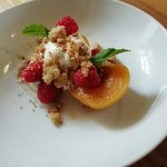 Vanilla Poached Peaches, Chantilly Cream & Almond Crumble