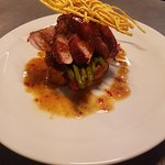 Fillet of Pork, butternut squash stovies and crispy noodle