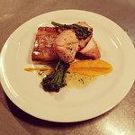 Roast Breast of Chicken, potato & haggis gratin, pureed carrot & tarragon butter