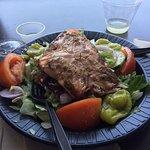 Greek Salad (not chopped) with Salmon - w/Chardonnay