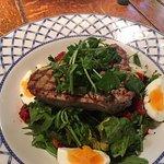 Salad nicoise with a very nice tuna steak