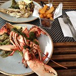 Lobster with almond pesto ( fire pit )