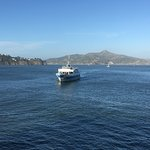 Ferry preparing to dock in Sausalito, CA coming from San Fran.