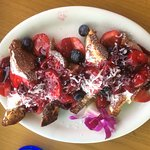 French toast with berries, cream cheese, and coconut