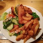 "Fish and chips comes with prawn salad ""AMAZING"""