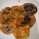 Lobster stuffed ravioli in a vodka tomato sauce