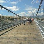 Walking the bridge.