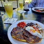 Table View with Huevos Rancheros and Fresh Pineapple Juice