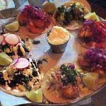 Sorry this is blurry but this is how the tacos are served.