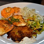 One of our favorite Seafood Medleys! Pan fried White Fish, Garlic Herb Shrimp and a Crab Cake!