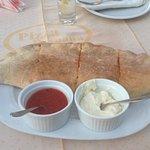 Huge stuffed garlic bread.... Too big really.....