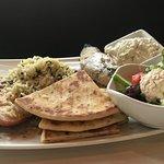 Pork ,rice, Tzatlik and Chicken Salad