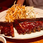 Barbecue Baby Back Ribs and fries and cole slaw