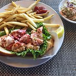 Lobster Roll with fries and coleslaw