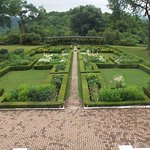 The formal garden behinf the mansion at Hildene, from a econd floor window