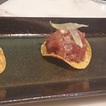 Smoked tuna with tequila lime mustard tostada