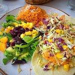 Tacos Del Mar (shrimp & halibut) with mango salsa salad