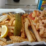 Shrimp Po' Boy with krinkle fries