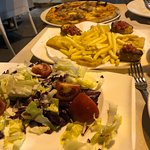 pizza, salad and hot app