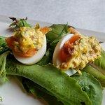 Smoked Salmon Deviled Eggs (4 halves per order)
