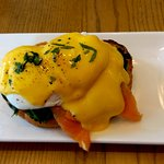 Eggs Benedict with Smoked Salmon piled on 1 piece of toast!