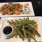 Shrimp and Calamari, Tempura Green Beans