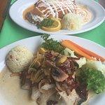 Grouper dish and shrimp enchiladas