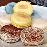 Macarons: chocolate, vanilla, peach, & blueberry.