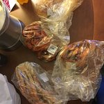 Boiled crab legs, crawfish, shrimp by the pound