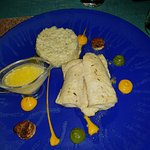 Fish fillet with various accompaniments