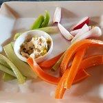 Crunchy vegetable crudites with cheese dip