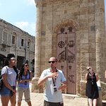 Jeremy captivating the audience with the clock tower story in Tel Aviv.
