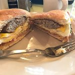 Cooked goose signature breakfast sandwich. Chicken sausage egg avocado tomato   Cheese optional