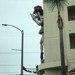 Look for great public art all around Venice Beach, California, including Ballerina Clown.