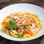 Hong Kong Shrimp and Noodle Soup with Salmon